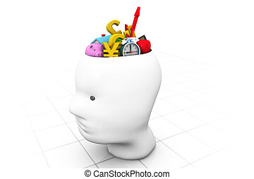 human head with business icons