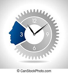 human head with clock gear