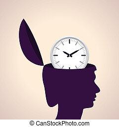Human head with clock icon