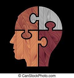 Human head with color Wood Textu Adobe Illustrator(R) 9.0