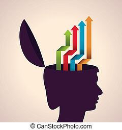 Human head with colorful arrows