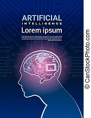 Human Head With Cyborg Brain Over Circuit Motherboard Background Artificial Intelligence Concept