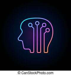 Human head with digital brain colorful icon - vector artificial