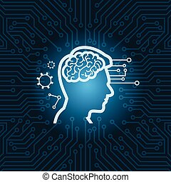 Human Head With Digital Brain Icon Over Blue Circuit Motherboard Background