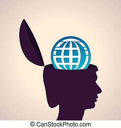 Human head with earth icon
