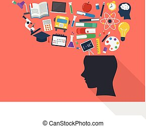 Human head with education icons