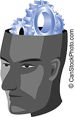 Human head with gear - Vector illustration of Human head...