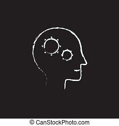 Human head with gear icon drawn in chalk.