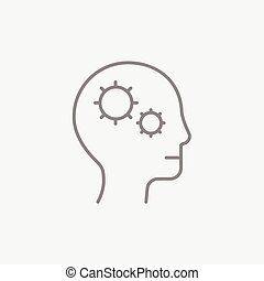 Human head with gear line icon.