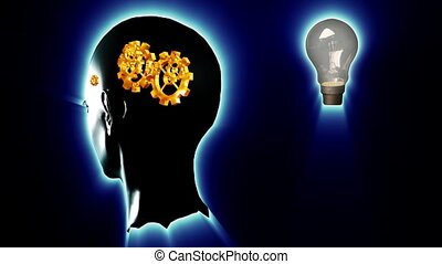 Human head with gears and cogs and a lightbulb