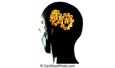 Animation of a human head with gears and cogs in motion. Concept of thinking