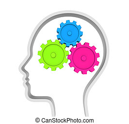 Human Head with Gears Isolated