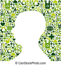 Human head with green icons background