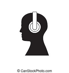 Human head with headphones isolated background. Vector illustration.