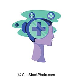 human head with health cross on white background