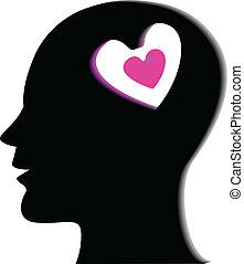 Human head with heart logo
