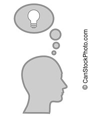 Human head with idea concept, bulb as invention sign