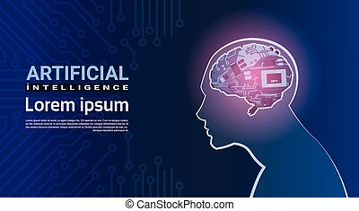 Human Head With Modern Cyborg Brain Mechanism Over Circuit Motherboard Background Artificial Intelligence Concept