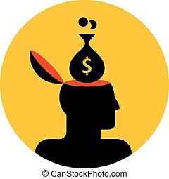 human head with money bag