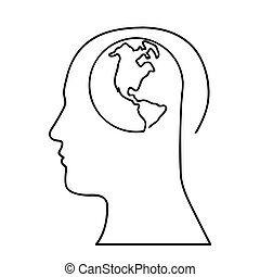 human head with planet earth icon image