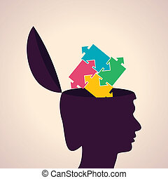 Human head with puzzle pieces