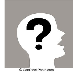 Human head with question mark