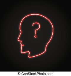 Human head with question mark neon icon