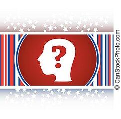 Human head with question mark symbol, web icon vector