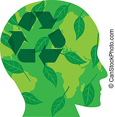 Human Head with Recycle Symbol Illustration