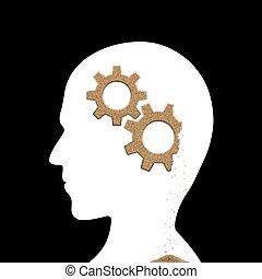 Human head with sand gears inside. Alzheimer's disease