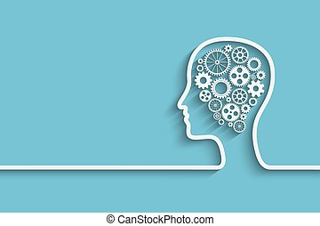 Human head with set of gears as a symbol work of brain, Eps10 vector background for your design