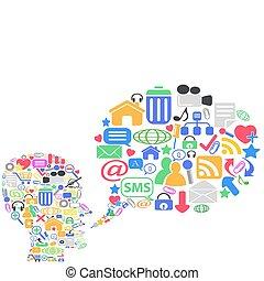 human head with social media