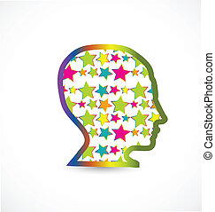 Human head with stars logo vector