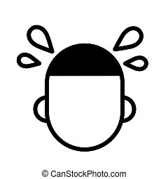 Human head with sweat drops, simple black and white outline icon. Flat vector illustration. Isolated on white.