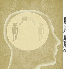 human head with two person speaking different languages