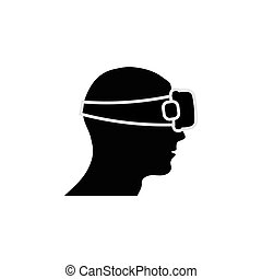 Human head with vr glasses silhouette