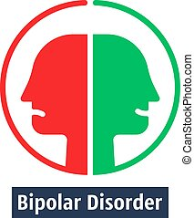 human heads like bipolar disorder. simple flat trend modern outline man logotype graphic art design isolated on white background. concept of split personality or schizo diagnosis and duality person
