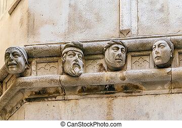 Human heads, Sibenik, Croatia