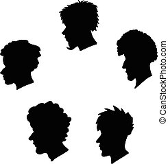 human heads silhouette set