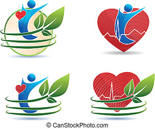 Human health care symbols, healthy heart concept. Human silhouette, leaves and heart.