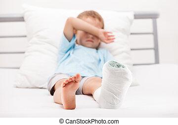 Human healthcare and medicine concept - little child boy...