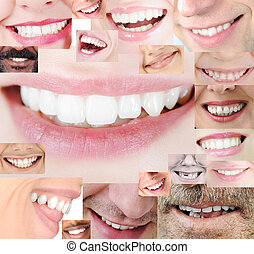 Human healthy teeth smile collage