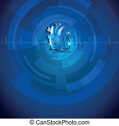 Human heart anatomy, blue cardidogram background