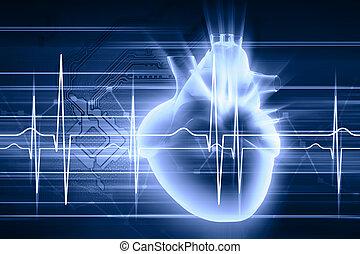 Human heart beats - Virtual image of human heart with...