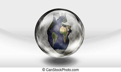 Human heart earth in glass bottle