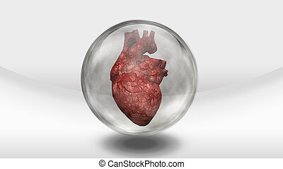 Human heart earth in glass sphere