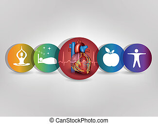 Human heart health care colorful icon collection