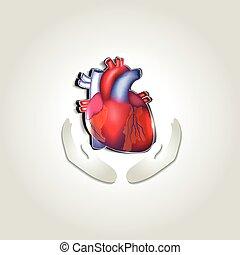 Human heart health care symbol