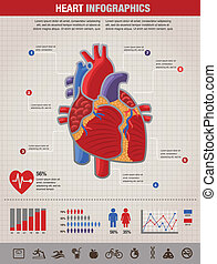 Human Heart health, disease and attack infographic