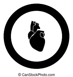 Human heart icon black color in circle